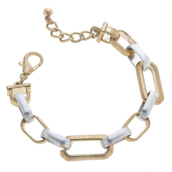 "Two Tone Chain Link Bracelet.  - Approximately 3"" in Diameter"