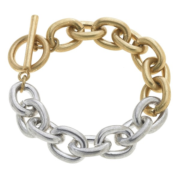 "Two Tone Chain Link Toggle Bar Bracelet.  - Approximately 3"" in Diameter"