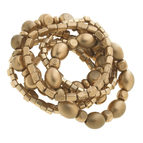 "7 PC Painted Wood Stack Stretch Bracelet Set.  - 7 PC Per Set - Approximately 3"" in Diameter"