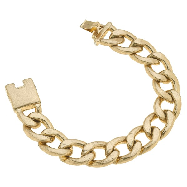 "Chunky Curb Chain Link Statement Bracelet in Worn Gold.  - Approximately 3"" in Diameter"