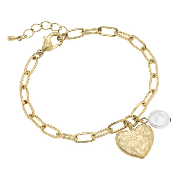 "Ivory Pearl Chain Link Heart Bracelet in Worn Gold.  - Charm .5""  - Approximately 3"" in Diameter"