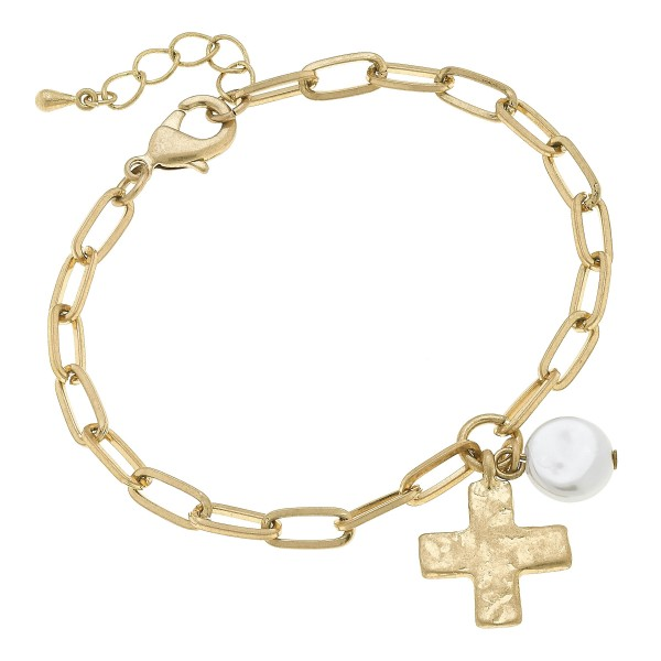"Ivory Pearl Chain Link Cross Bracelet in Worn Gold.  - Charm .5""  - Approximately 3"" in Diameter"
