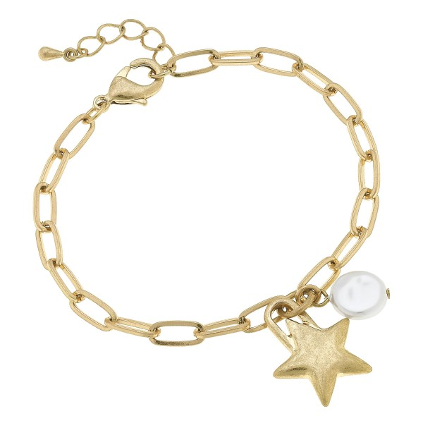 "Ivory Pearl Chain Link Star Bracelet in Worn Gold.  - Charm .5""  - Approximately 3"" in Diameter"