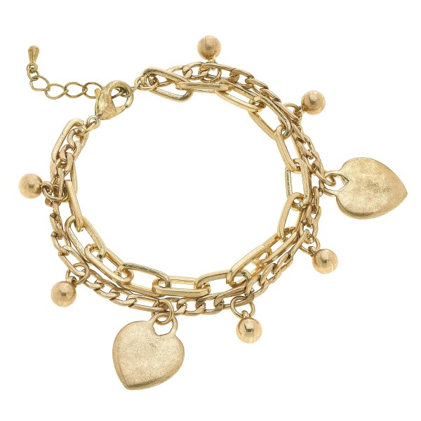 "Chain Link Layered Heart Charm Bracelet in Worn Gold.  - Charms .75""  - Approximately 3"" in Diameter - 2"" Adjustable Extender"