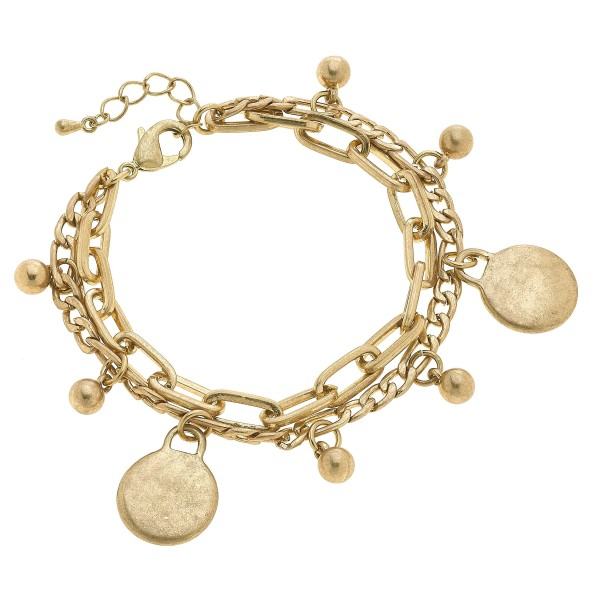 "Chain Link Layered Charm Bracelet in Worn Gold.  - Charms .75""  - Approximately 3"" in Diameter - 2"" Adjustable Extender"