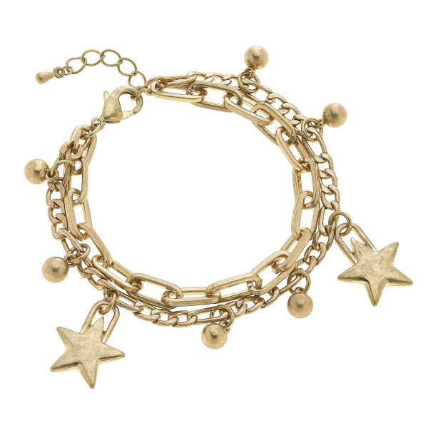 "Chain Link Layered Star Charm Bracelet in Worn Gold.  - Charms .75""  - Approximately 3"" in Diameter - 2"" Adjustable Extender"