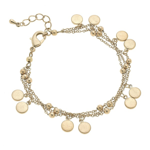 "3 PC Layered Disc Charm Bracelet.  - Approximately 3"" in Diameter"