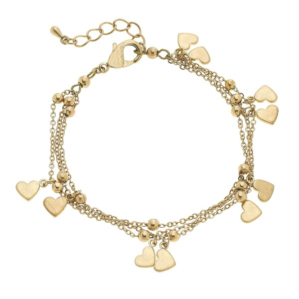 "3 PC Layered Heart Charm Bracelet.  - Approximately 3"" in Diameter"