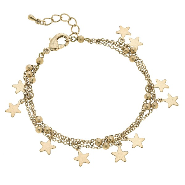 "3 PC Layered Star Charm Bracelet.  - Approximately 3"" in Diameter"
