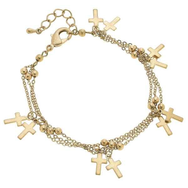 "3 PC Layered Cross Charm Bracelet.  - Approximately 3"" in Diameter"