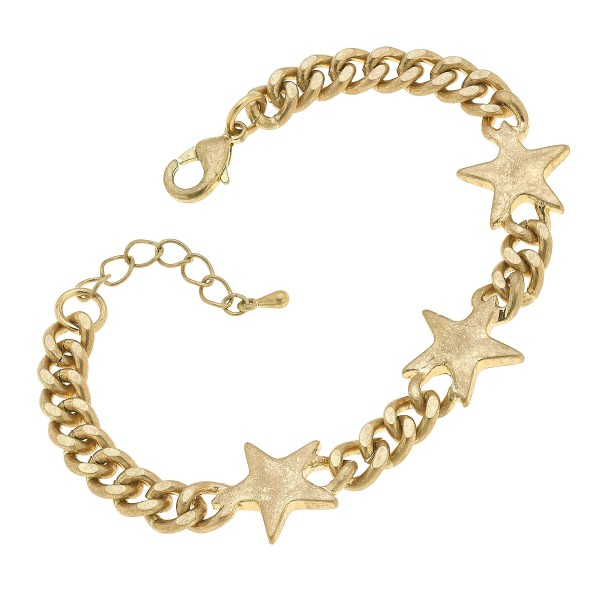 "Curb Chain Link Star Bracelet in Worn Gold.  - Approximately 3"" in Diameter"