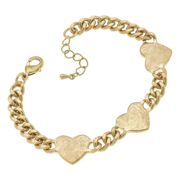 "Curb Chain Link Heart Bracelet in Worn Gold.  - Approximately 3"" in Diameter"