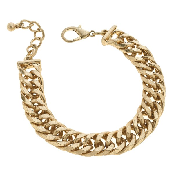 "Chunky Curb Chain Link Bracelet in Worn Gold.  - Approximately 3"" in Diameter"