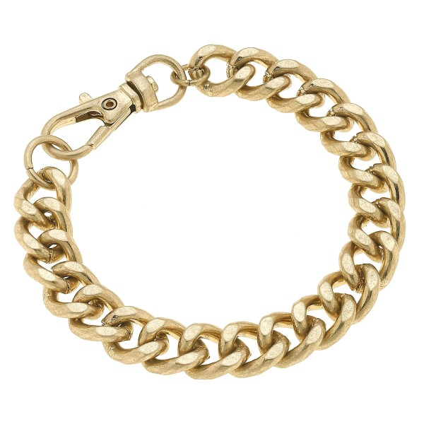 "Curb Chain Link Bracelet in Worn Gold.  - Approximately 3"" in Diameter"