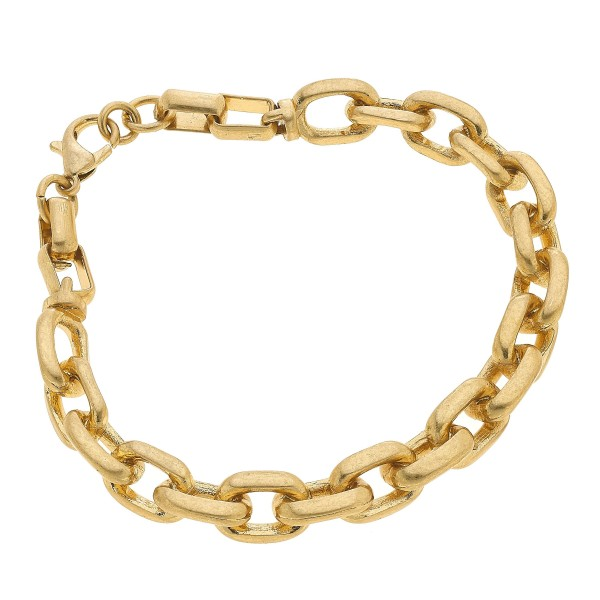 "Chain Link Bangle Bracelet in Worn Gold.  - Approximately 3"" in Diameter - Adjustable Lobster Clasp"