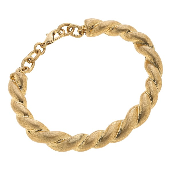 "Twisted Bangle Bracelet in Worn Gold.  - Approximately 3"" in Diameter - Adjustable Lobster Clasp"