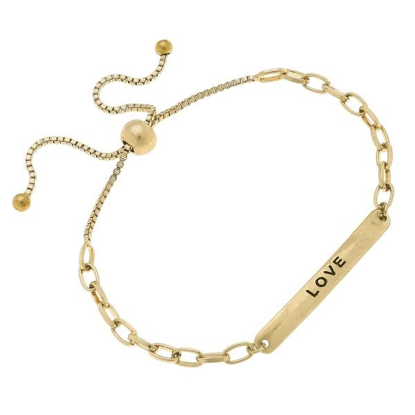 Wholesale chain Link Love Bolo Bracelet Worn Gold Diameter Adjustable Bolo Clasp