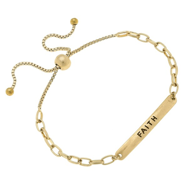 """Chain Link Faith Bolo Bracelet in Worn Gold.  - Focal 1.75""""  - Approximately 3"""" in Diameter  - Adjustable Bolo Clasp"""