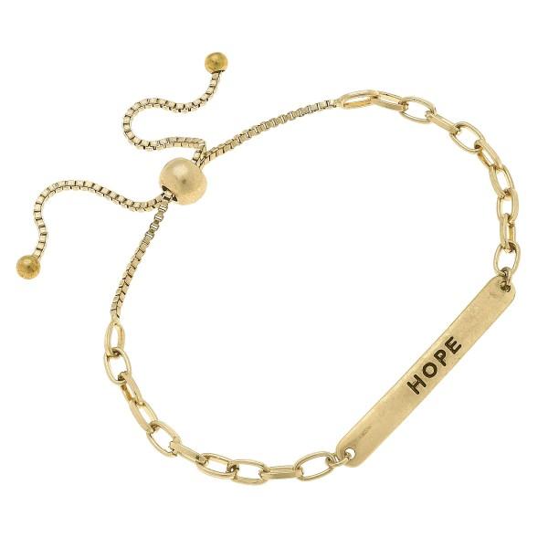 Wholesale chain Link Hope Bolo Bracelet Worn Gold Diameter Adjustable Bolo Clasp