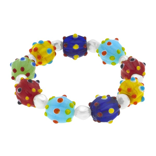 "Multi Glass Beaded Stretch Bracelet.  - Bead 15mm - Approximately 3"" in Diameter"