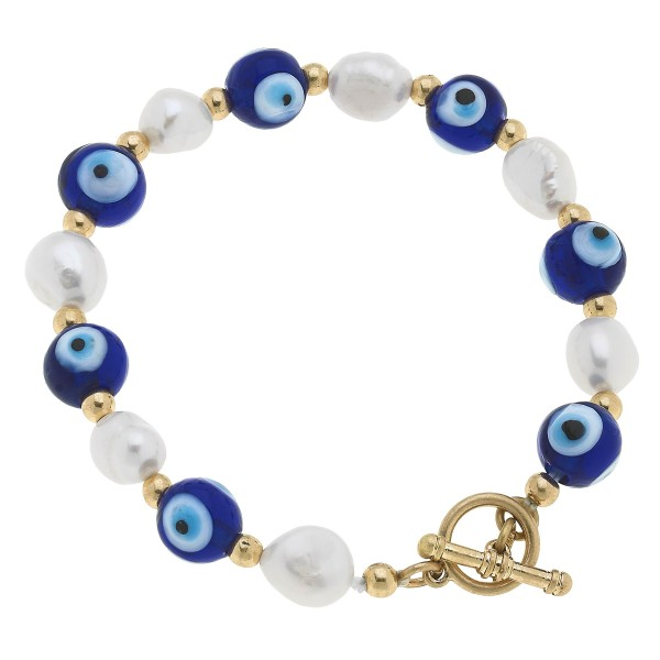 "Glass Evil Eye Beaded Pearl Stretch Toggle Bar Bracelet.  - Bead 9mm - Approximately 3"" in Diameter"