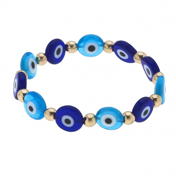 "Glass Evil Eye Beaded Stretch Bracelet.  - Approximately 3"" in Diameter"