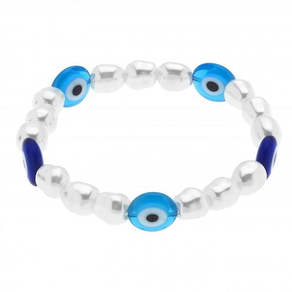 "Pearl Beaded Evil Eye Stretch Bracelet.  - Pearl 6mm  - Approximately 3"" in Diameter"