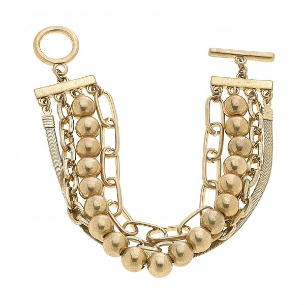 "CCB Chain Link Toggle Bar Bracelet in Gold.  - Toggle Bar Clasp - Approximately 3"" in Diameter"