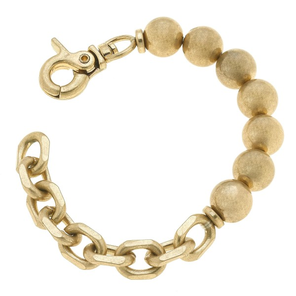 "Chain Link Ball Beaded Stretch Bracelet in Worn Gold.  - Bead 11mm - Approximately 3"" in Diameter"
