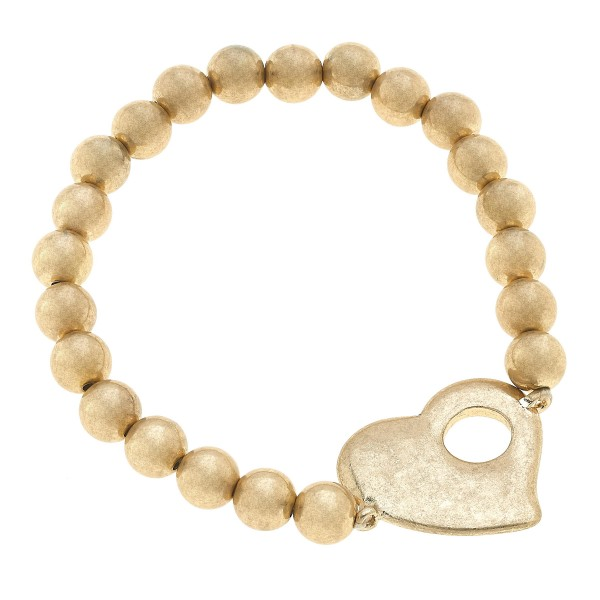 "Beaded Heart Stretch Bracelet in Worn Gold.  - Focal 1""  - Approximately 3"" in Diameter"