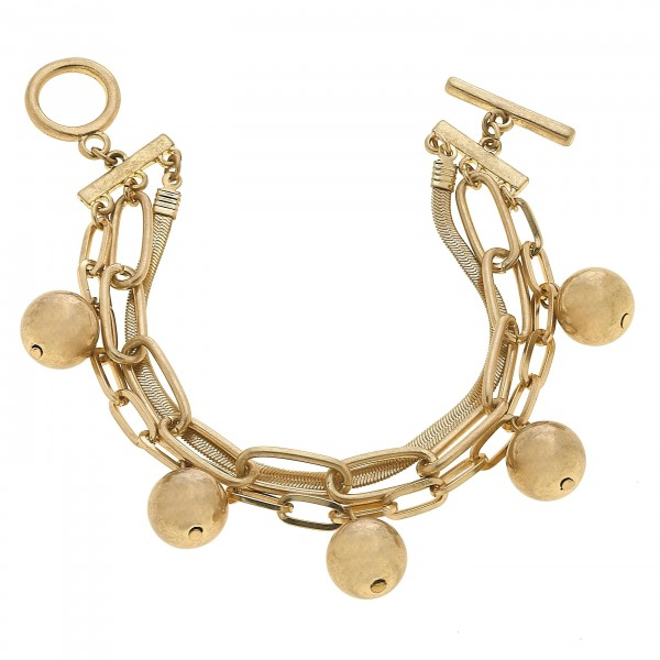 "Mixed Chain Link Ball Bead Toggle Bar Bracelet in Worn Gold.  - Ball Bead 11mm - Approximately 3"" in Diameter"