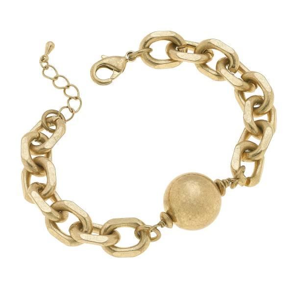 "Chunky Ball Chain Link Bracelet in Worn Gold.  - Ball 19mm - Approximately 3"" in Diameter"