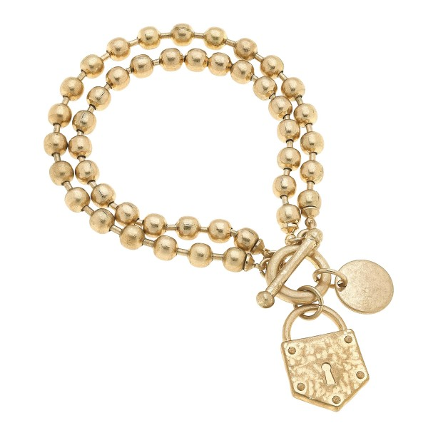 "Layered Ball Chain Lock Charm Bracelet in Worn Gold.  - Charm .75""  - Approximately 3"" in Diameter"