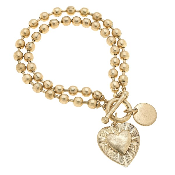 "Layered Ball Chain Heart Charm Bracelet in Worn Gold.  - Charm .75""  - Approximately 3"" in Diameter"