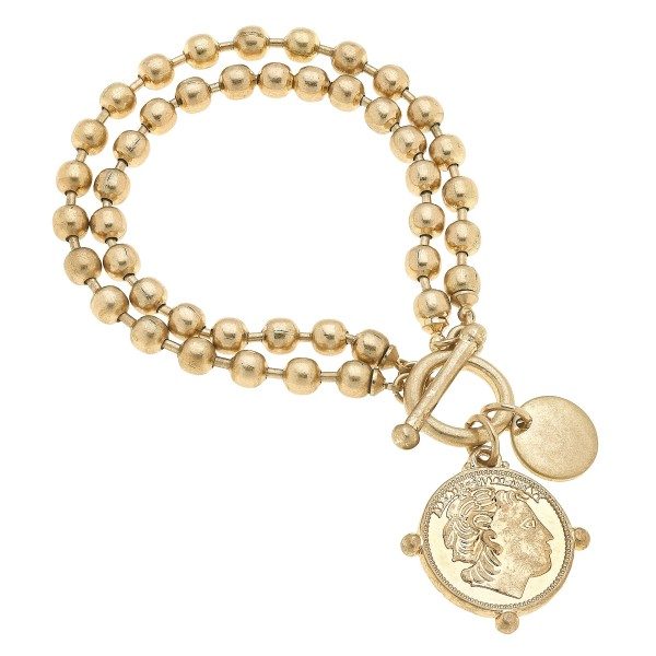 "Layered Ball Chain Coin Charm Bracelet in Worn Gold.  - Charm .75""  - Approximately 3"" in Diameter"