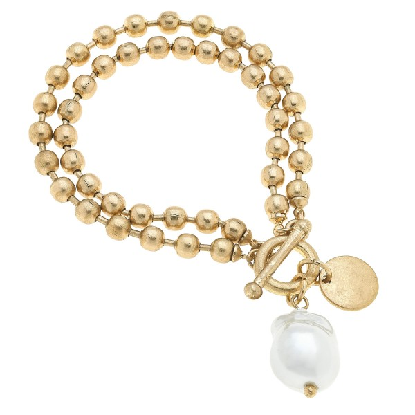 "Layered Ball Chain Pearl Charm Bracelet in Worn Gold.  - Charm .75""  - Approximately 3"" in Diameter"