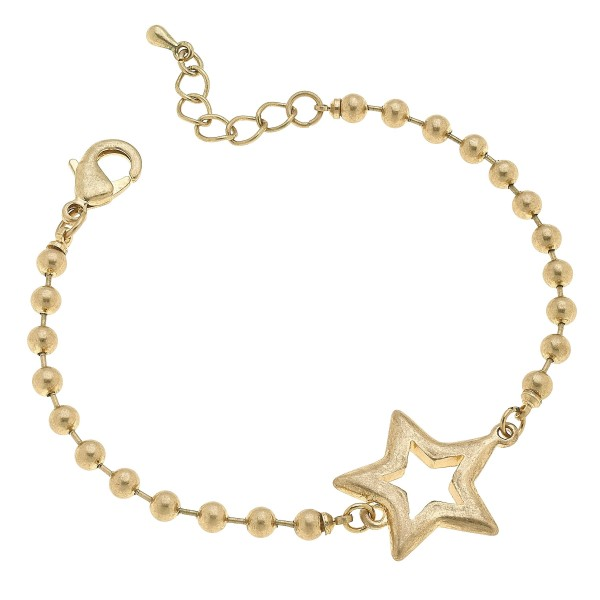 "Ball Chain Star Bracelet in Worn Gold.  - Focal 1""  - Approximately 3"" in Diameter"