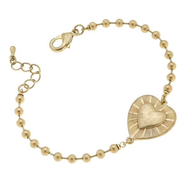 "Ball Chain Heart Bracelet in Worn Gold.  - Focal 1""  - Approximately 3"" in Diameter"