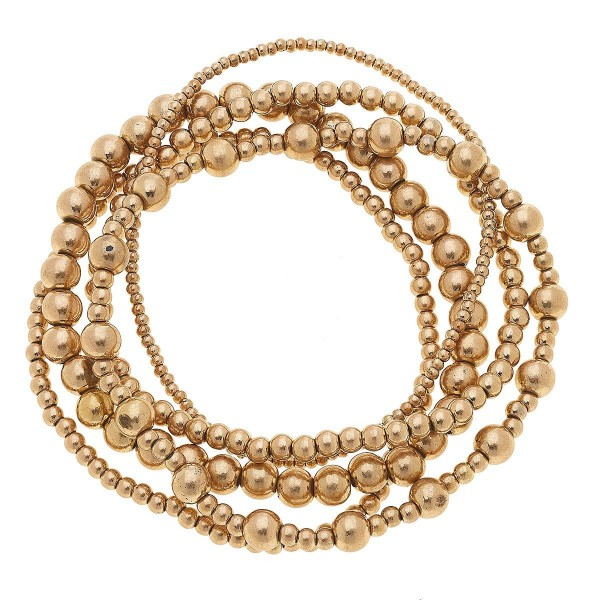 "4 PC Beaded Stretch Bracelet Set in Worn Gold.  - 4 PC Per Set - Approximately 3"" in Diameter"
