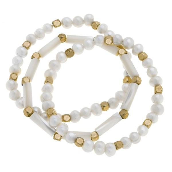 Wholesale pC Freshwater Pearl Stretch Bracelet Set PC Per Set Diameter