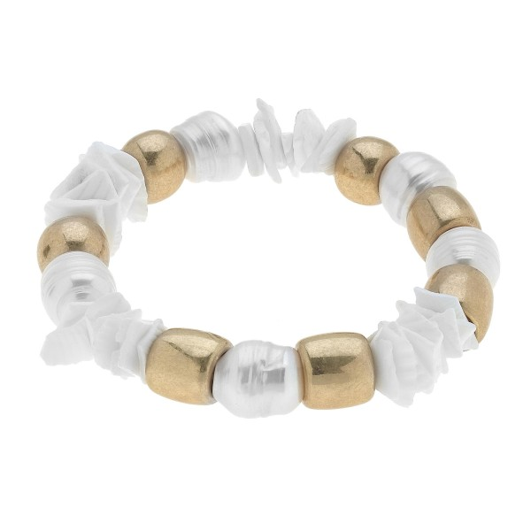 "Chunky Freshwater Pearl Stretch Bracelet.  - Pearl 12mm - Approximately 3"" in Diameter"