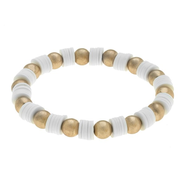 "White Rubber Ball Beaded Stretch Bracelet in Worn Gold.  - Approximately 3"" in Diameter"