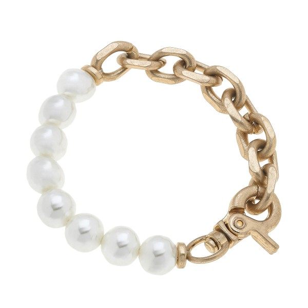 "Ivory Pearl Chain Link Bracelet in Worn Gold.  - Pearl 9mm - Approximately 3"" in Diameter"