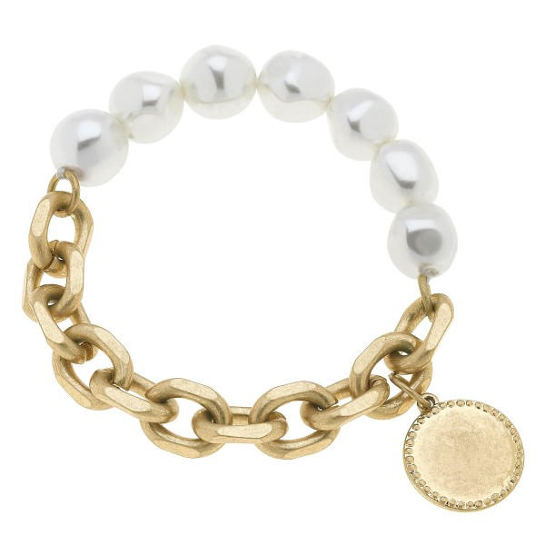 "Ivory Pearl Chain Link Coin Charm Stretch Bracelet in Worn Gold.  - Charm .75""  - Pearl 11mm - Approximately 3"" in Diameter"