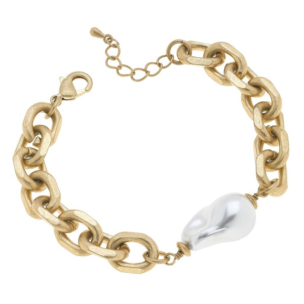 "Chain Link Baroque Pearl Bracelet in Worn Gold.  - Pearl 11mm - Approximately 3"" in Diameter"