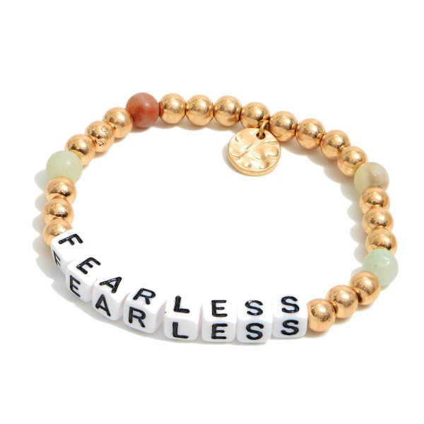 "Semi Precious Fearless Block Letter Stretch Bracelet in Gold.  - Bead Size 5mm - Approximately 3"" in Diameter"