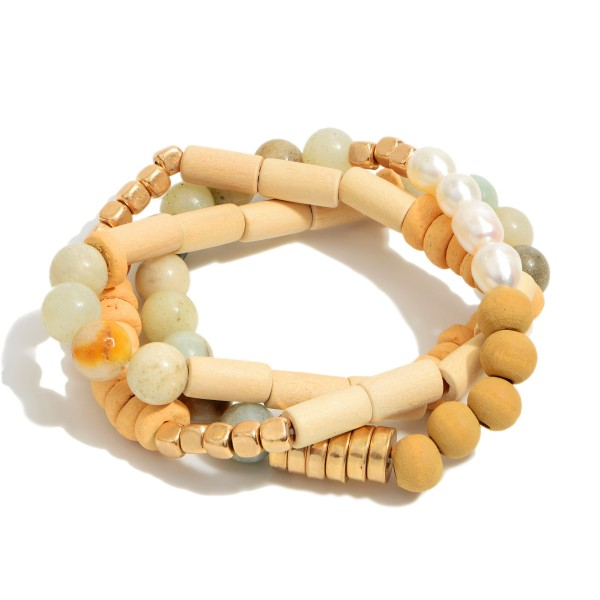 "3 PC Semi Precious Wood Beaded Pearl Stretch Bracelet Set.  - 3 PC Per Set - Approximately 3"" in Diameter"