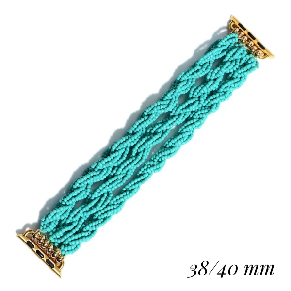 "Interchangeable Seed Beaded Rope Stretch Bracelet for Smart Watches Only.  - Fits 38-40mm Watch Face - Approximately 3"" in Diameter"