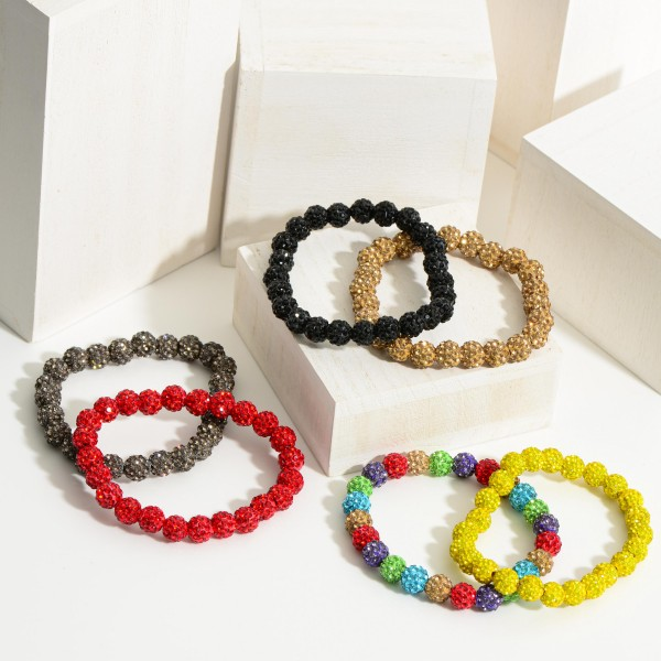 "Beaded Stretch Bracelet with Rhinestone Detail  - Beads Approximately 8mm in Diameter  - Bracelet Approximately 2.5"" in Diameter"