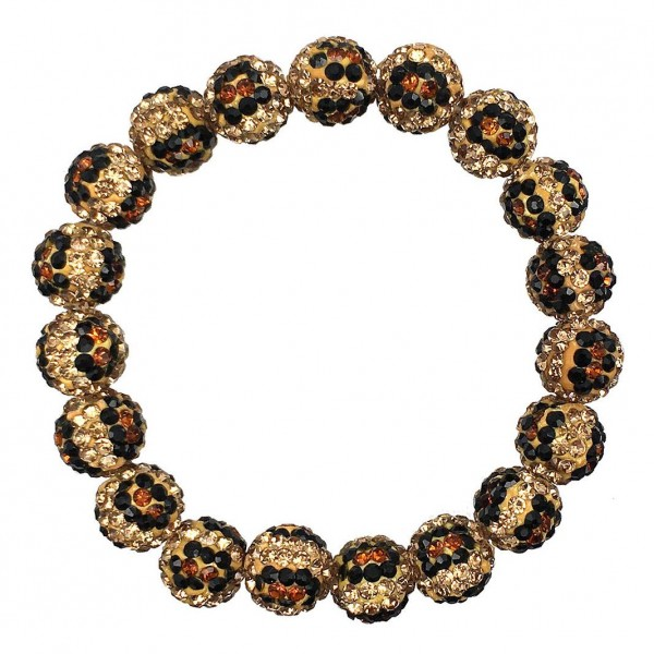 "Leopard Shamballa Beaded Stretch Bracelet.   - Beads Approximately 8mm in Diameter  - Bracelet Approximately 2.5"" in Diameter"